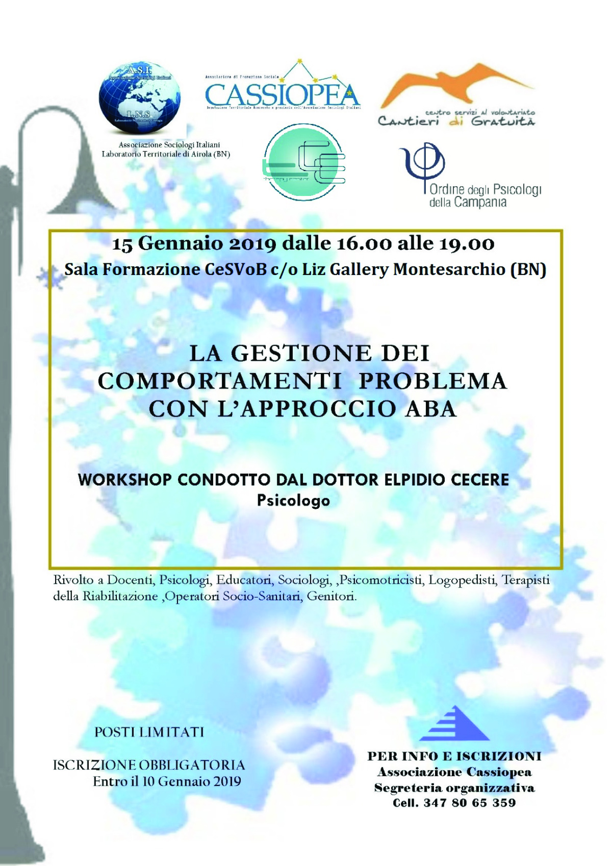 """Gestione dei comportamenti"", un workshop a Montesarchio"