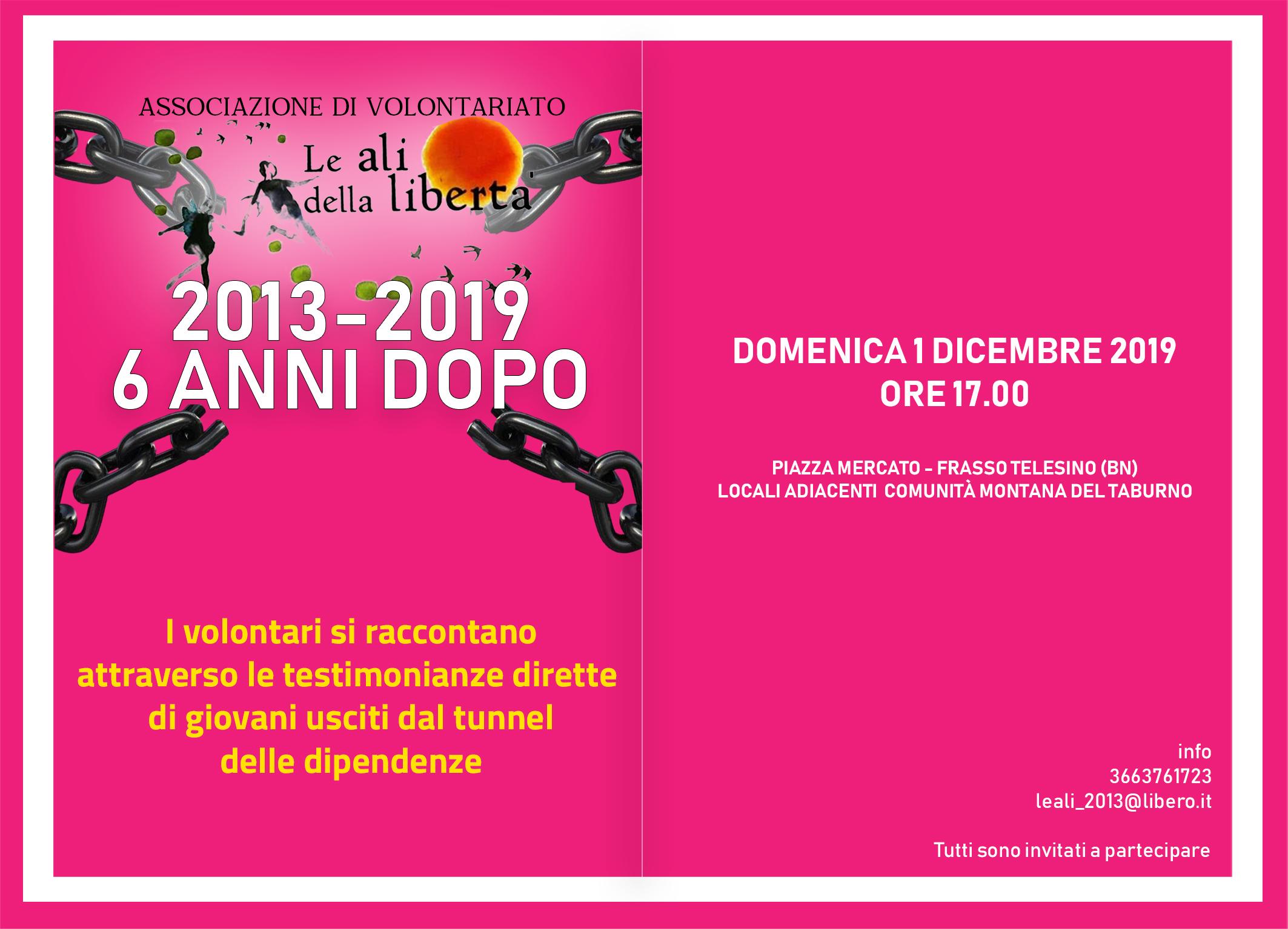 """A Frasso Telesino l'evento per celebrare i 6 anni dell'associazione """"Le Ali della Libertà"""""""